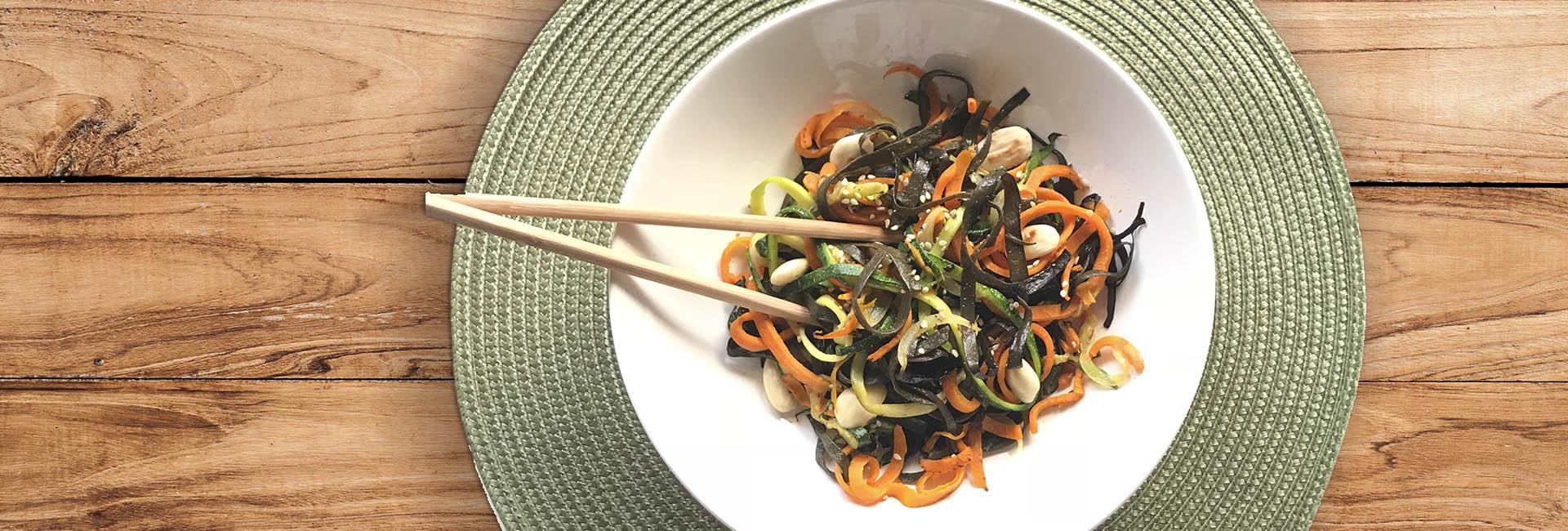 Wok verduras con alga espagueti de mar bio
