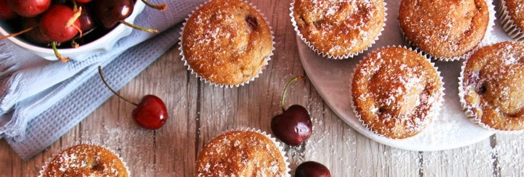 Muffins veganos de espelta y cerezas