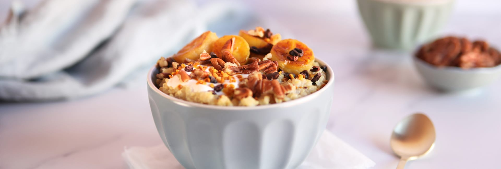 Porridge de quinoa con plátano asado