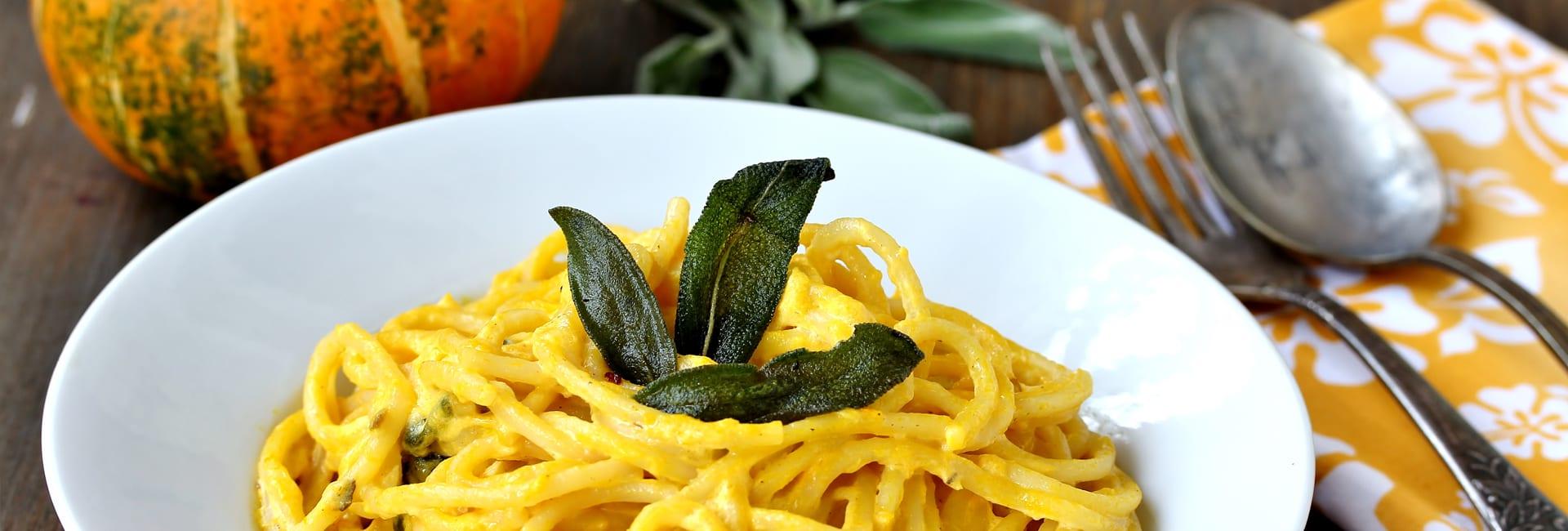 Espaguetis Integrales Bio con salsa cremosa de calabaza
