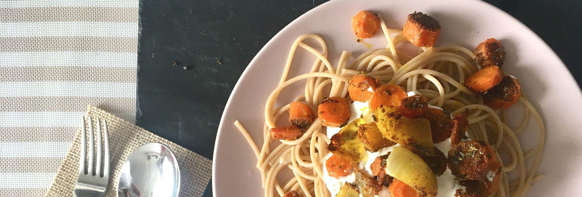 Espaguetis Integrales Cremosos con Zanahoria Especiada