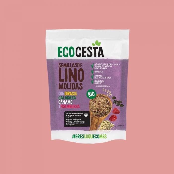 Semillas de Lino Molidas con Girasol, Calabaza, Cáñamo y Frambuesa Bio, 200 g