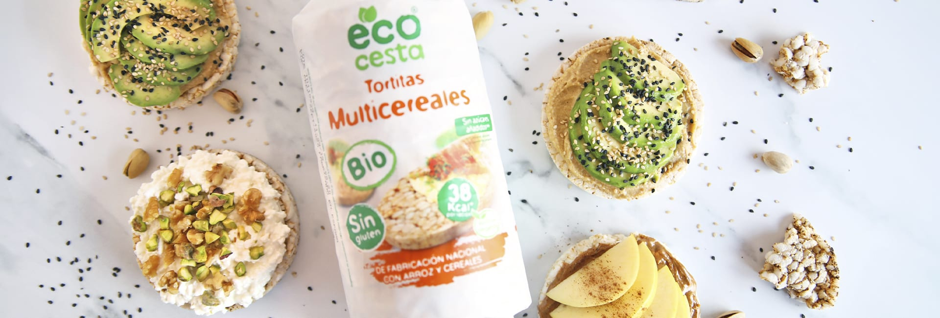 tortitas multicereales con toppings