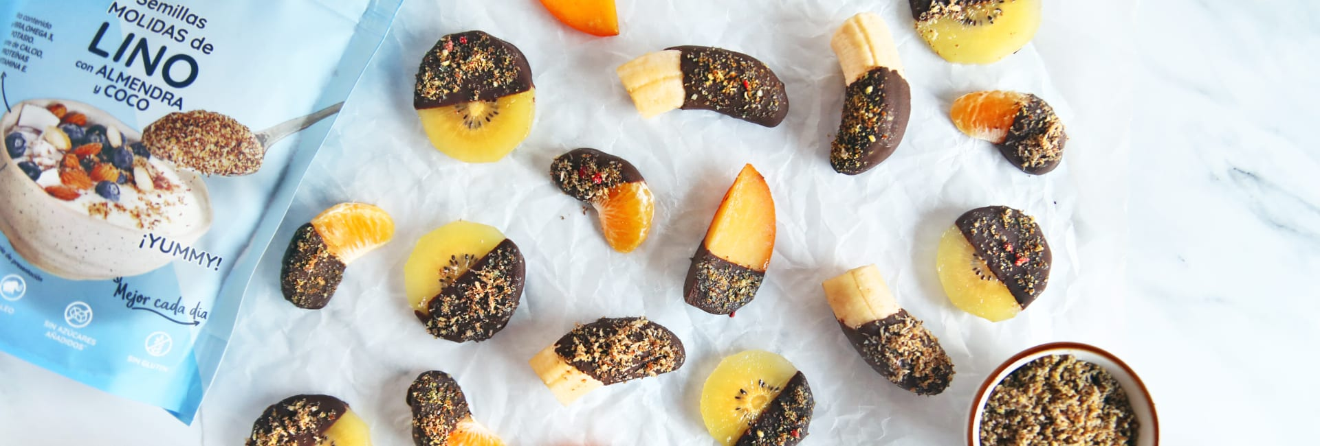 fruta bañada en chocolate