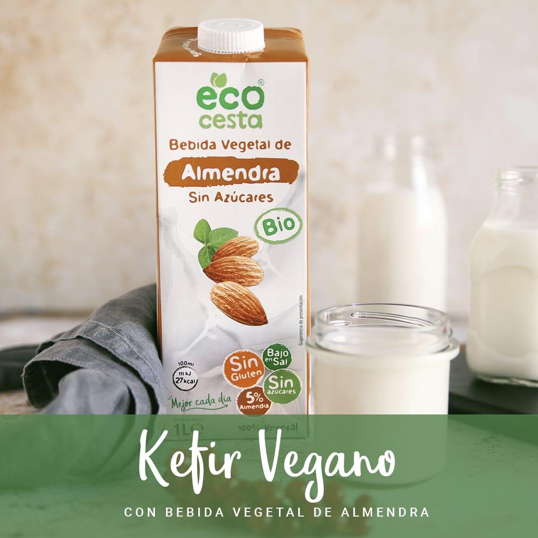 Kéfir vegano con bebida vegetal de almendra