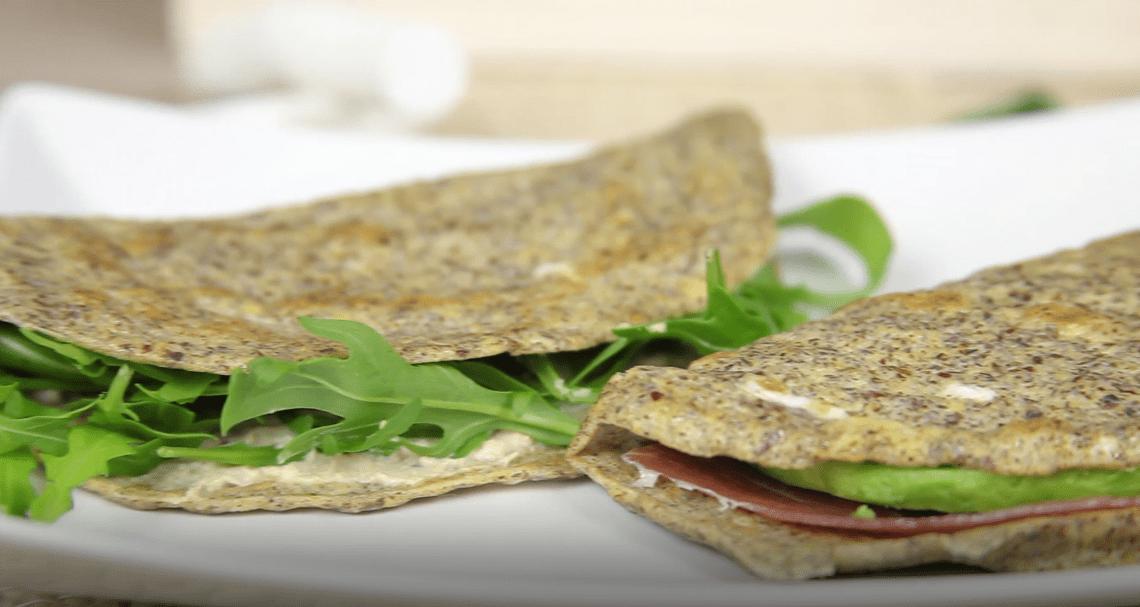 Crepes saladas con semillas de lino molido essential