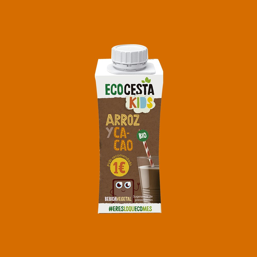 Bebida Vegetal Mini de Arroz con Cacao y Calcio Bio, 250 ml