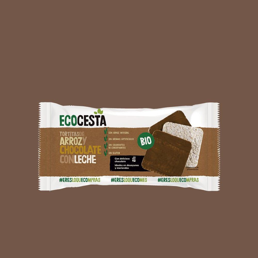 Tortitas de Arroz integral y Chocolate con Leche Bio, 90 g